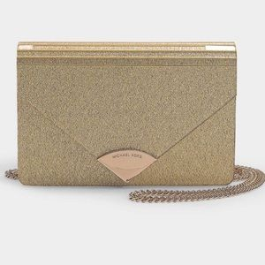 Michael Kors Gold Barbara Medium Envelope Clutch